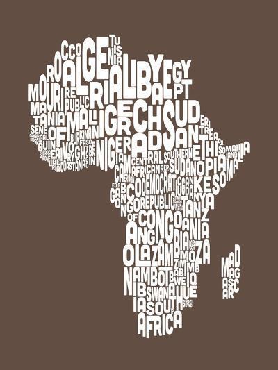 Map of Africa Map, Text Art-Michael Tompsett-Art Print