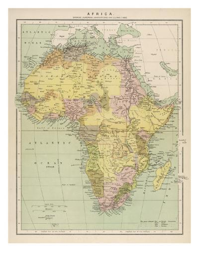 Map of Africa Showing European Annexations and Claims--Giclee Print