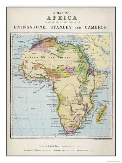 Map of Africa Which Illustrates the Travels of Livingstone Stanley