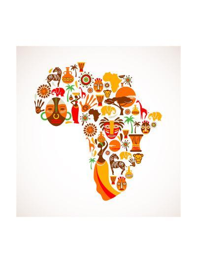 Map Of Africa With Icons-Marish-Art Print