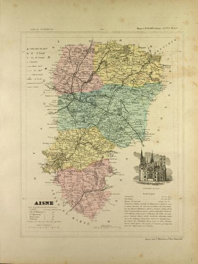 Map of Aisne France--Giclee Print