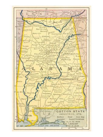 picture relating to Printable Map of Alabama referred to as Map of Alabama Artwork Print via