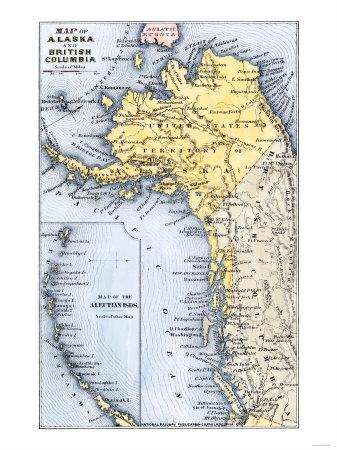 graphic regarding Printable Map of Alaska identified as Map of Alaska, the Aleutian Islands, and British Columbia, 1872 Giclee Print by way of