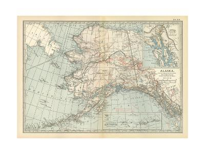 Map of Alaska. United States. Inset Maps of Sitka, and Aleutian Islands-Encyclopaedia Britannica-Giclee Print