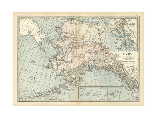 Map of Alaska. United States. Inset Maps of Sitka, and Aleutian Islands ...