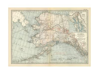Map Of Alaska United States Inset Maps Of Sitka And Aleutian Islands