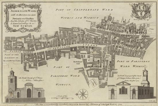 Map of Aldersgate Ward, City of London--Giclee Print