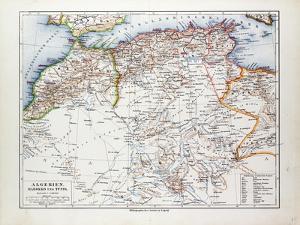 Map of Algeria Morocco and Tunisia 1899