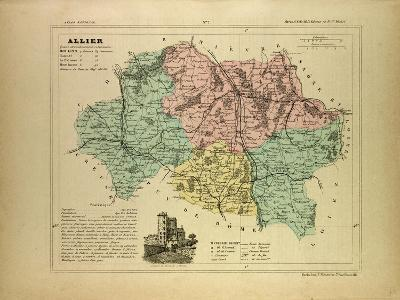 Map of Allier France--Giclee Print