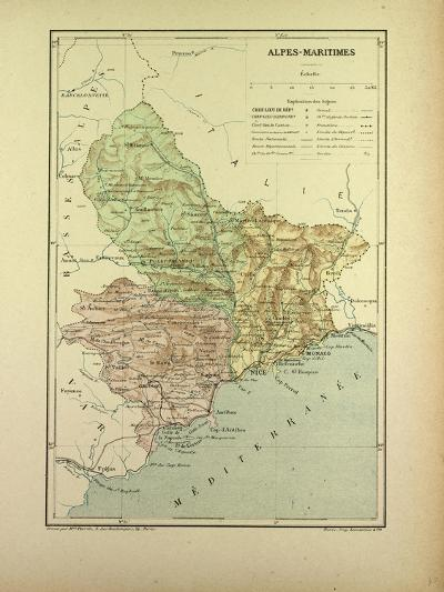 Map of Alpes-Maritimes, France--Giclee Print