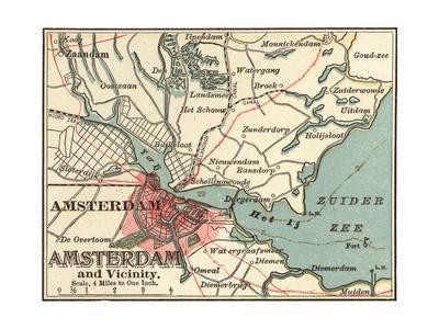 image regarding Printable Map of Amsterdam called Map of Amsterdam (C. 1900), Maps Giclee Print by way of Encyclopaedia Britannica