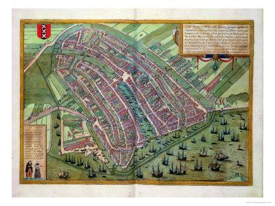 "Map of Amsterdam, from ""Civitates Orbis Terrarum"" by Georg Braun and Frans Hogenburg, circa 1572-Joris Hoefnagel-Premium Giclee Print"