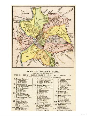photograph about Printable Map of Ancient Rome identify Map of Historical Rome Demonstrating the 14 Areas down below Caesar Augustus, c.1 Advert Giclee Print as a result of
