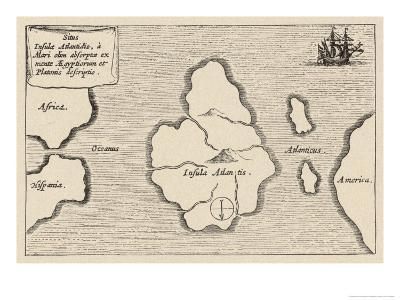 Map of Atlantis Showing Position Relative to Europe Africa and America-Athanasius Kircher-Giclee Print
