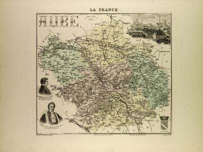 Map of Aube 1896, France--Giclee Print