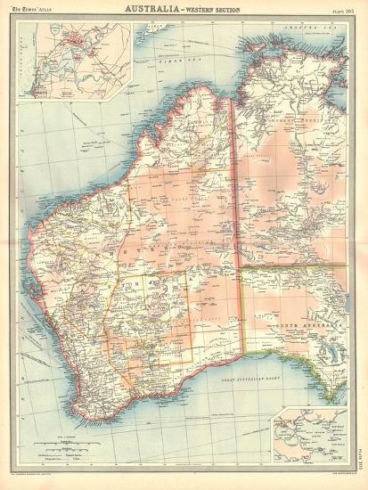 Map of Australia - Western Section-Unknown-Giclee Print