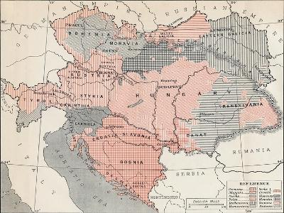 Map of Austria-Hungary in 1878--Giclee Print