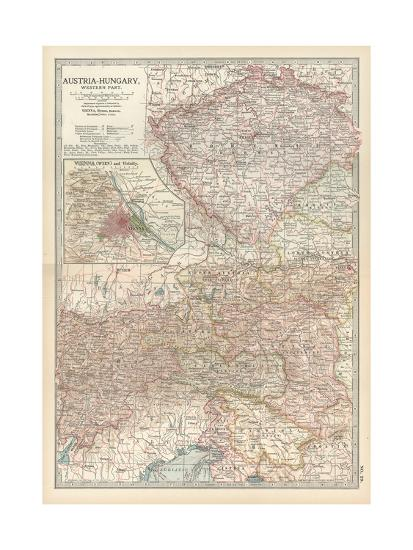 Map of Austria-Hungary, Western Part. Inset of Vienna (Wien) and Vicinity-Encyclopaedia Britannica-Giclee Print