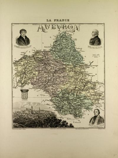 Map of Aveyron 1896, France--Giclee Print