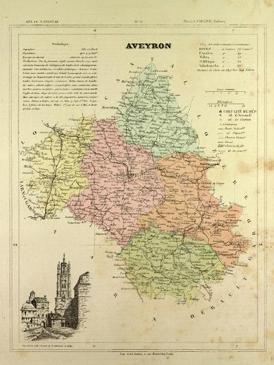 Map of Aveyron France--Giclee Print