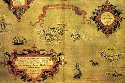 Map of Azores by Abraham Ortelius, 1528-1598, from Theatrum Orbis Terrarum, 1570--Giclee Print