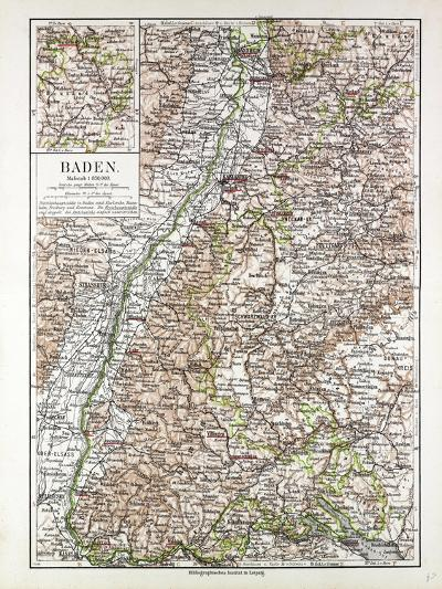 Map of Baden Germany 1899--Giclee Print