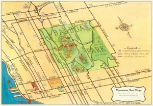 Map of Balboa Park and San Diego, California