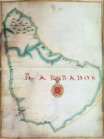 Map of Barbados, 1683--Giclee Print