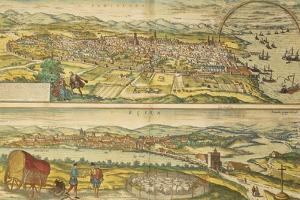 Map of Barcelona and Ecija from Civitates Orbis Terrarum