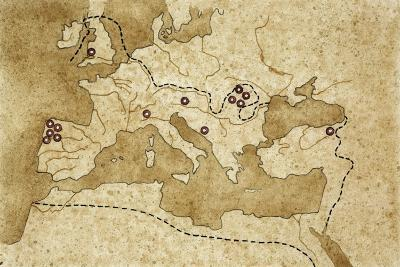 Map of Basin of Mediterranean Sea with Main Centers of Gold Extraction--Giclee Print