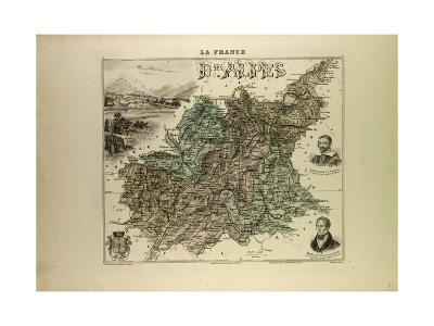 Map of Basses Alpes 1896 France--Giclee Print