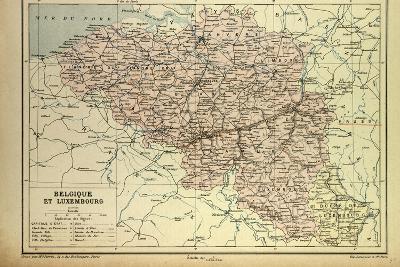 Map of Belgium and Luxemburg--Giclee Print