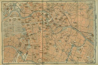 Map of Berlin Center, from a Travel Guide Baedeker's Northeast Germany, 1892- Leipzig Wagner & Debes-Giclee Print
