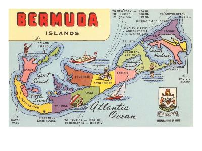 Map of Bermuda Islands--Art Print