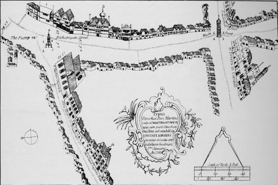 Map of Bishopsgate, City of London, c1599 (1904)-Unknown-Giclee Print