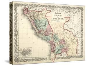 Map of Bolivia and Peru before the War of Pacific, Published in New York, 1878