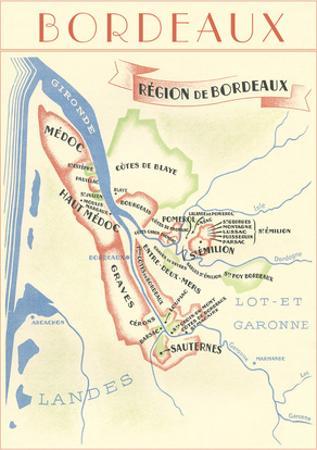 Map of Bordeaux Region of France