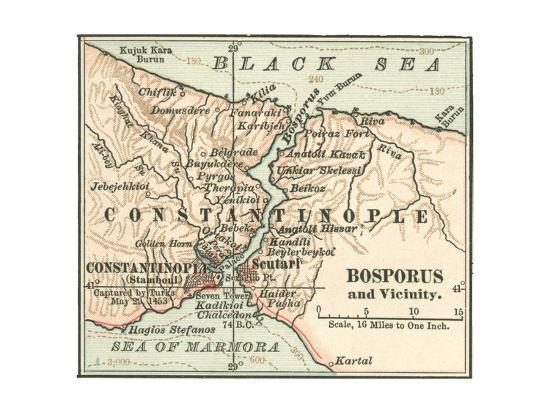 Map of Bosphorus (C. 1900), Maps-Encyclopaedia Britannica-Giclee Print