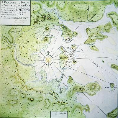 Map of Boston and Charlestown, 1775-John Montresor-Giclee Print