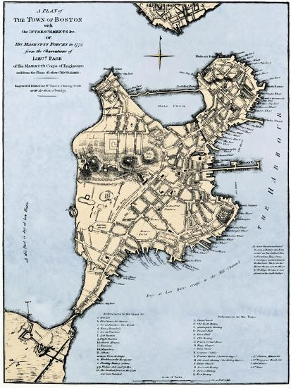 Map of Boston Showing Entrenchments of British Forces, 1775 Giclee  Map Of Boston on
