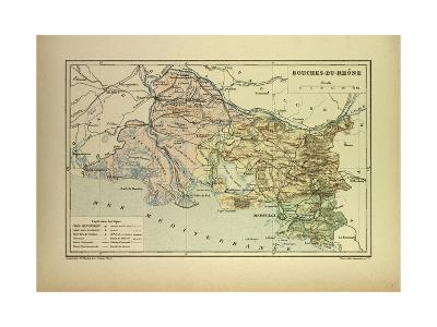 Map of Bouches-Du-Rhône, France--Giclee Print