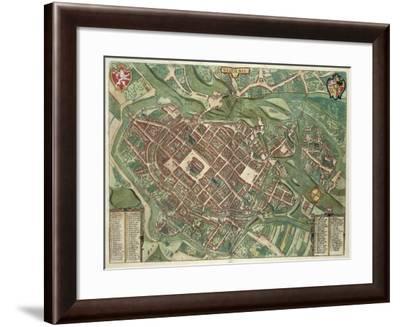 Map of Bratislava, from Civitates Orbis Terrarum by Georg Braun-Joris Hoefnagel-Framed Giclee Print