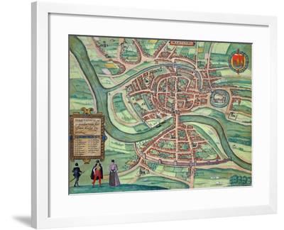 "Map of Bristol, from ""Civitates Orbis Terrarum"" by Georg Braun and Frans Hogenberg circa 1572-1617-Joris Hoefnagel-Framed Giclee Print"