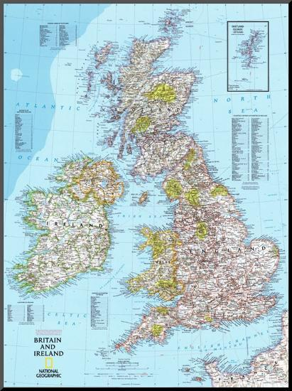 Map Of Ireland And Britain.Map Of Britain And Ireland Mounted Print By Art Com