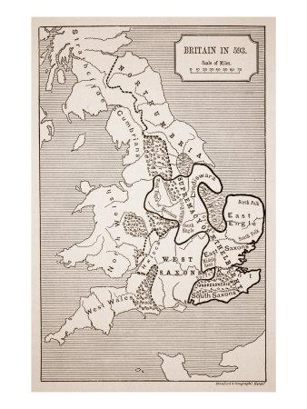 Map of Britain in 593, Printed by Stanford's Geographical Establishment--Giclee Print