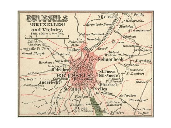 Map of Brussels (C. 1900), Maps-Encyclopaedia Britannica-Giclee Print