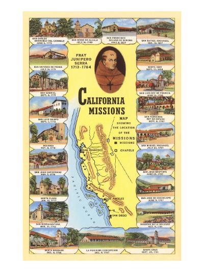 Map of California Missions--Art Print