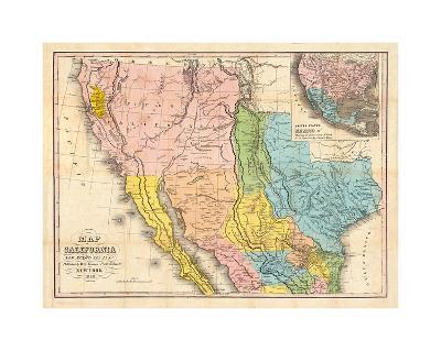 Map of California, New Mexico-Bill Cannon-Giclee Print