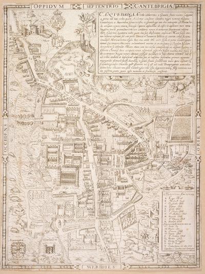 Map of Cambridge, from Caius 'Historia Cantabrigensis Academia', 1574-Richard Lyne-Giclee Print