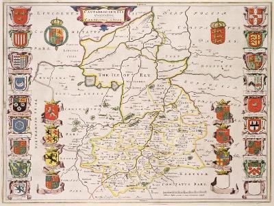Map of Cambridgeshire, Published Amsterdam c.1647-48-W.j. Blaeu-Giclee Print